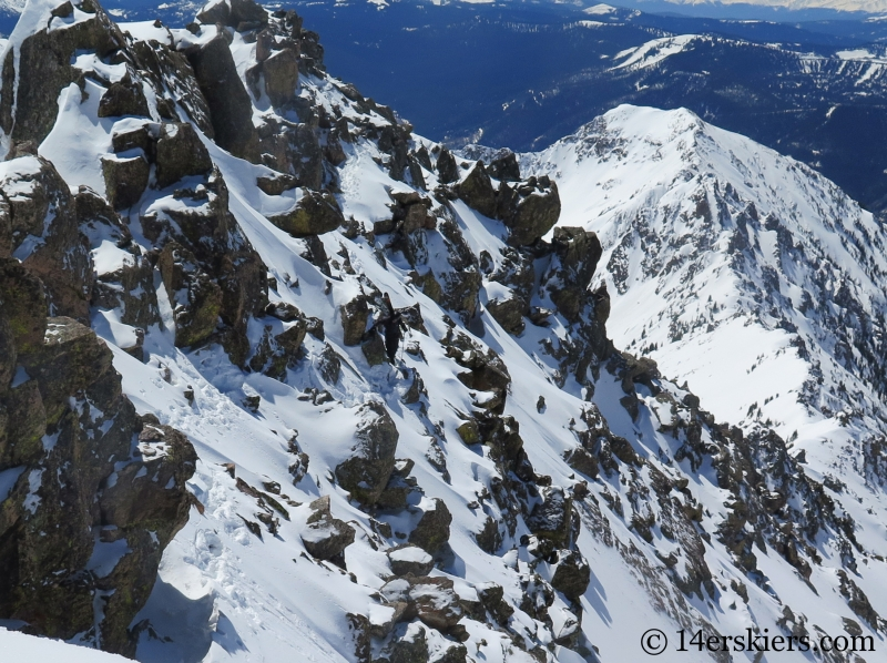 Backcountry skiing West Partner Peak.