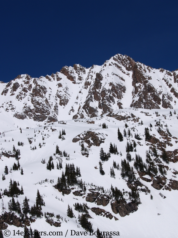 Backcountry skiing East Partner Peak (Peak V) in the Gore Range.
