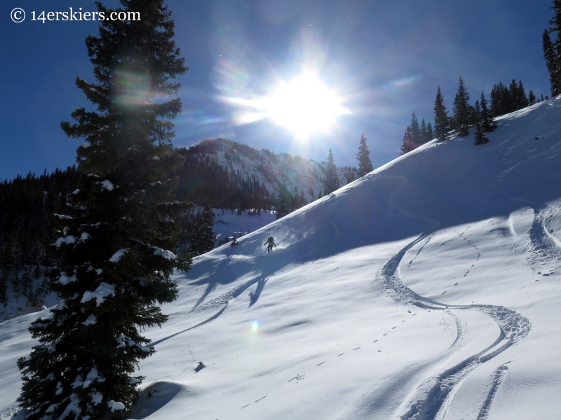 Backcountry skiing powder in Crested Butte
