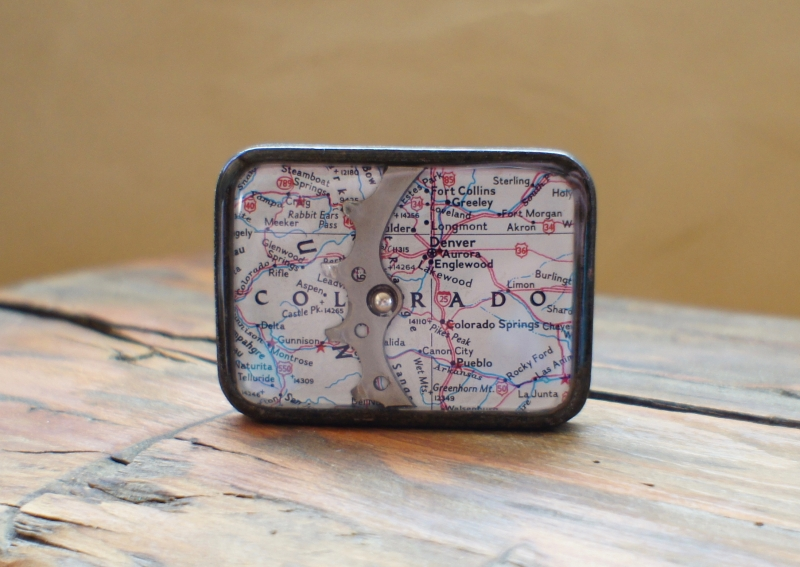 CO map style belt buckle