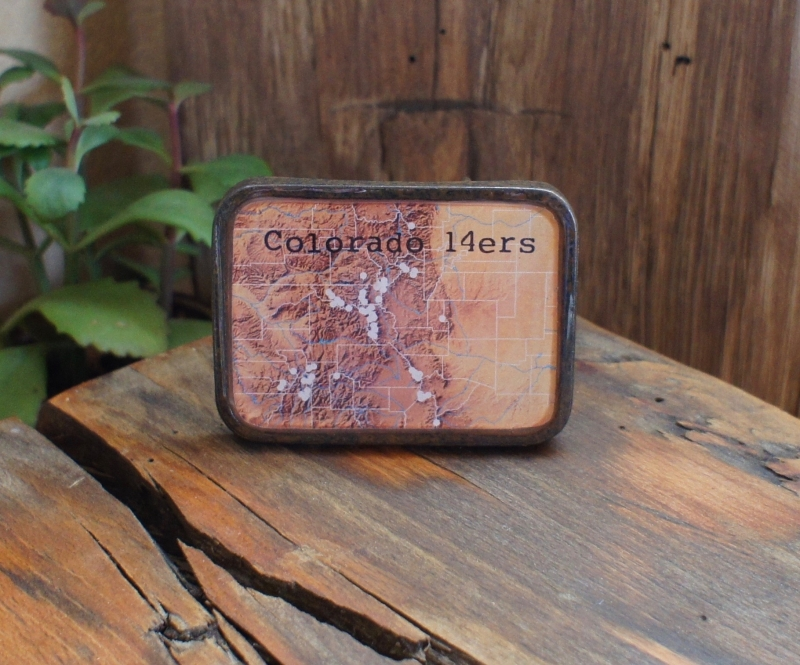 colorado 14ers map belt buckle