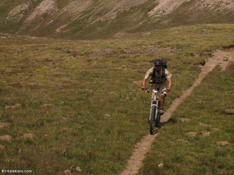 Mountain biking Cataract Ridge Trail, part of the Colorado Trail in the San Juans.