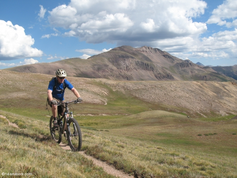 Mountain biking Cataract Ridge Trail, part of the Colorado Trail in the San Juans.