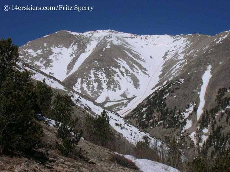 Mount Princeton ski line, backcountry skiing Colorado