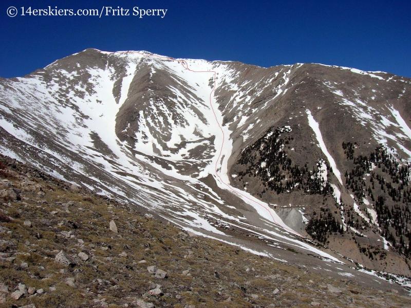 Mount Princeton ski line, skiing fourteneers in Colorado