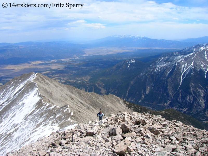 Climbing to Mount Princeton summit to ski it