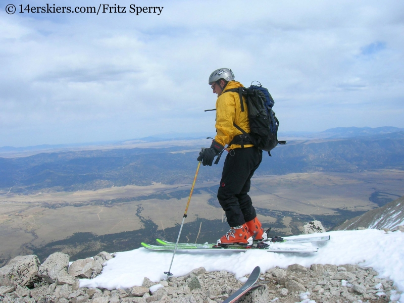Fritz Sperry skiing from the summit of Mount Princeton
