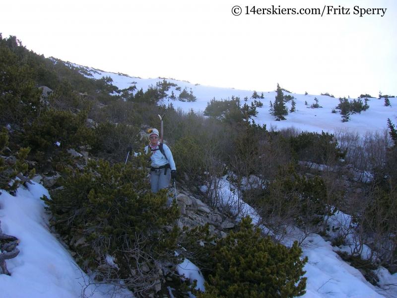 Hiking out of Mount Princeton