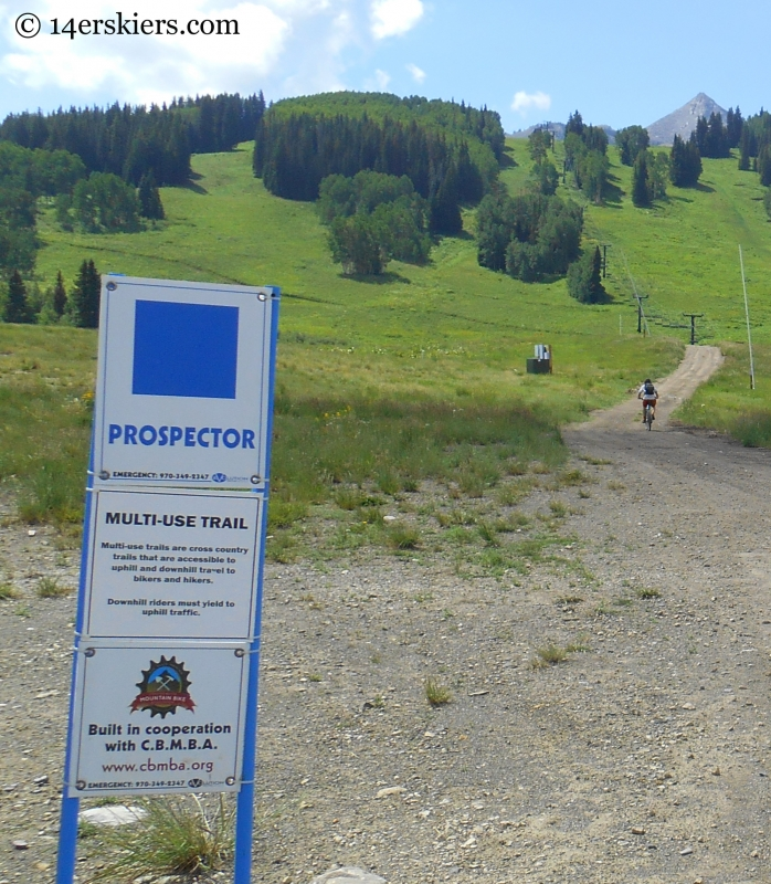 Sign for Prospector trail at Crested Butte Mountain Resort