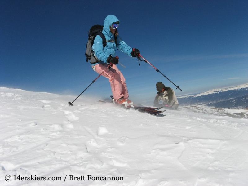 Brittany Konsella backcountry skiing Quandary Peak.