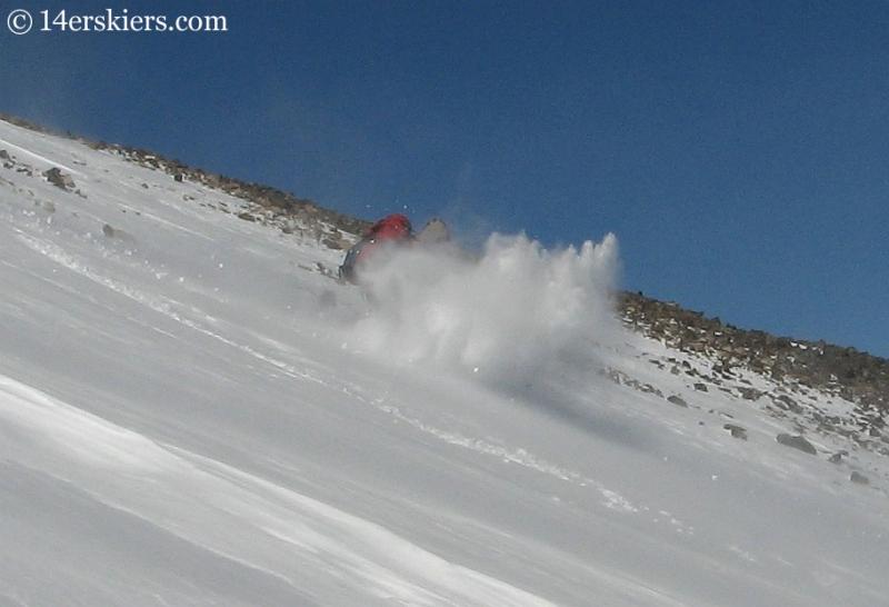 Brett Foncannon backcountry skiing on Quandary Peak.