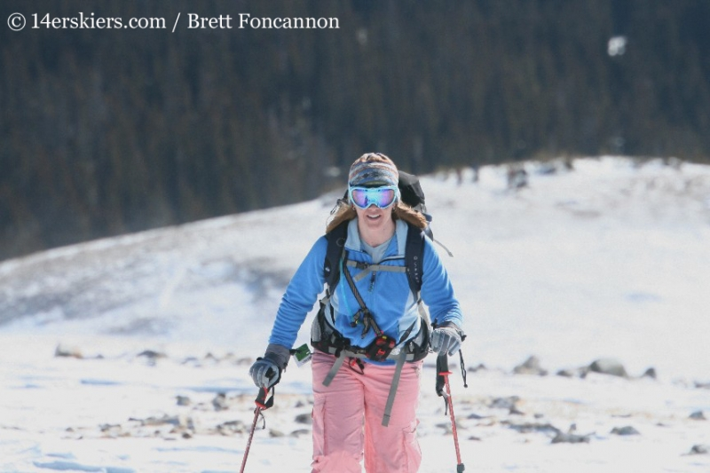 Brittany Konsella skinning on Quandary Peak.