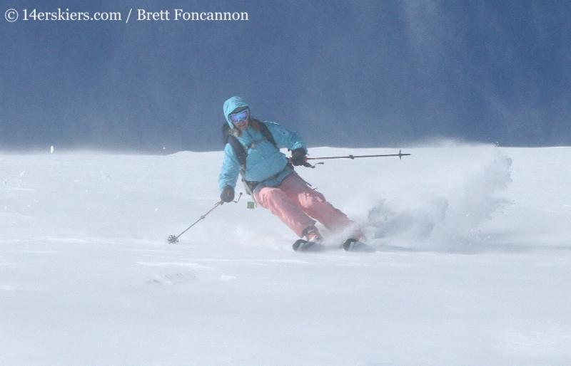 Brittany Konsella backcountry skiing on Quandary Peak.
