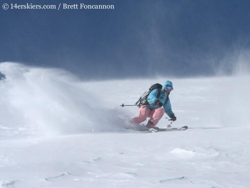 Brittany Walker Konsella backcountry skiing on Quandary Peak.
