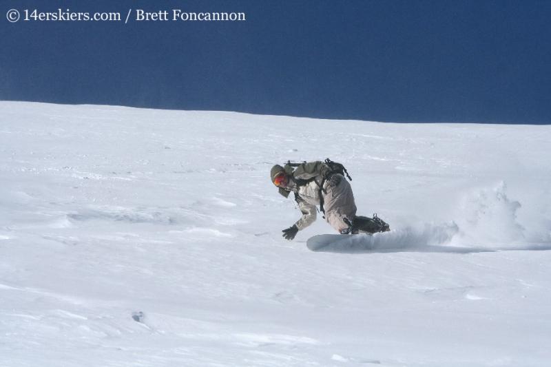 snowboarding on Quandary Peak.
