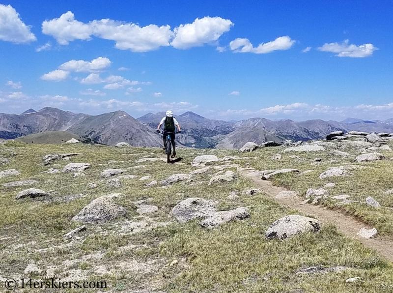Mountain biking Horseshoe Trail near Whitepine, CO.