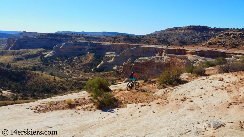 Sara Meiser mountain biking Rabbit Valley Western Rim Trail