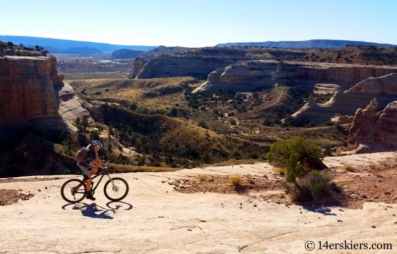 Natalie Moran mountain biking Rabbit Valley Western Rim trail near Fruita.