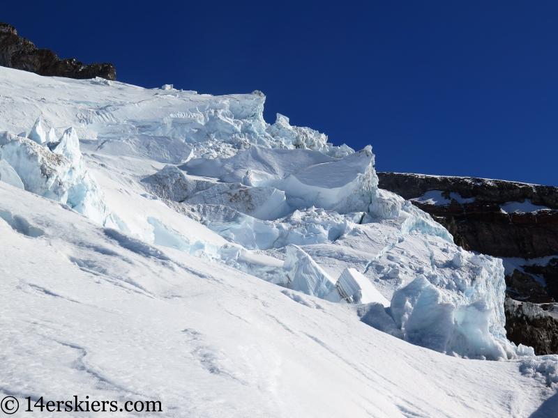 Seracs on the Nisqually Glacier on Mount Rainier.