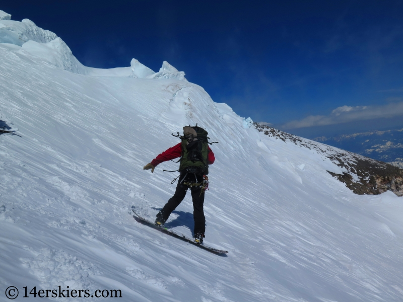 Snowboarding on the Nisqually Glacier on Mount Rainier.