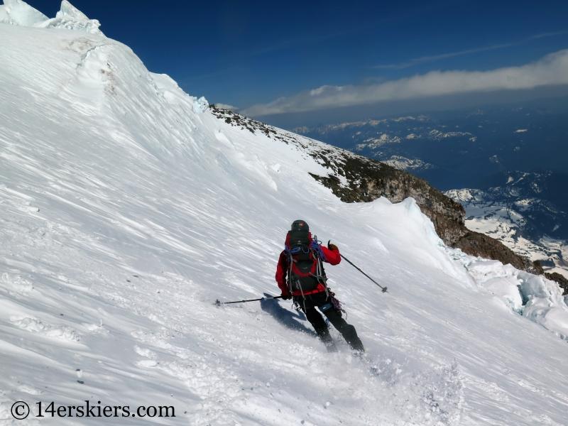 Skiing upper Nisqually Glacier on Mount Rainier.