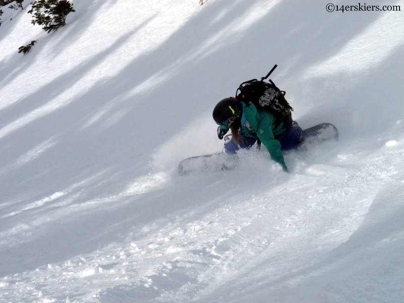 Rachel Reich snowboarding Crested butte backcountry