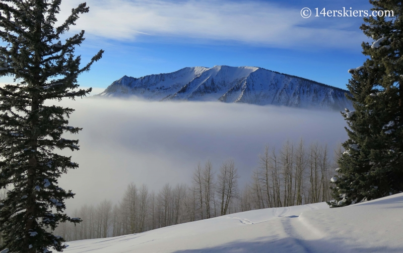 Axtell with fog while backcountry skiing in Crested Butte.