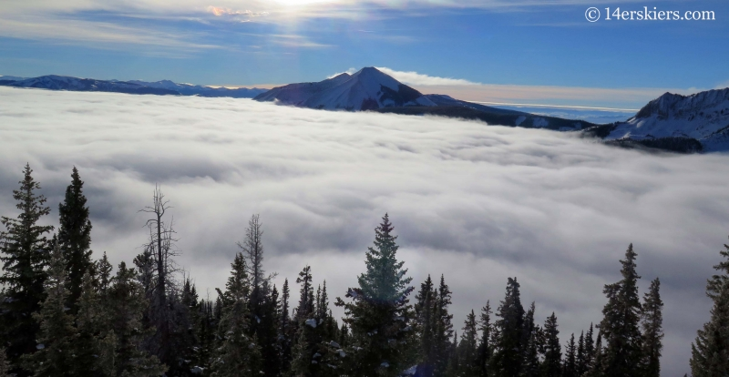 Thick fog surrounding Whetstone in winter while backcountry skiing in Crested Butte
