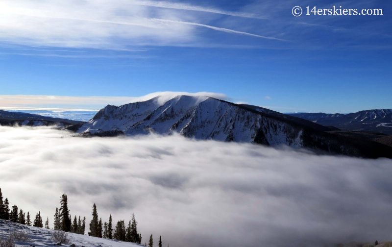 Axtell with fog in winter while backcountry skiing in Crested Butte.