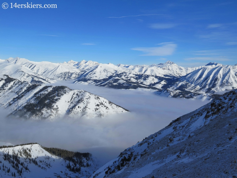 Fog with mountains in winter in Crested Butte.