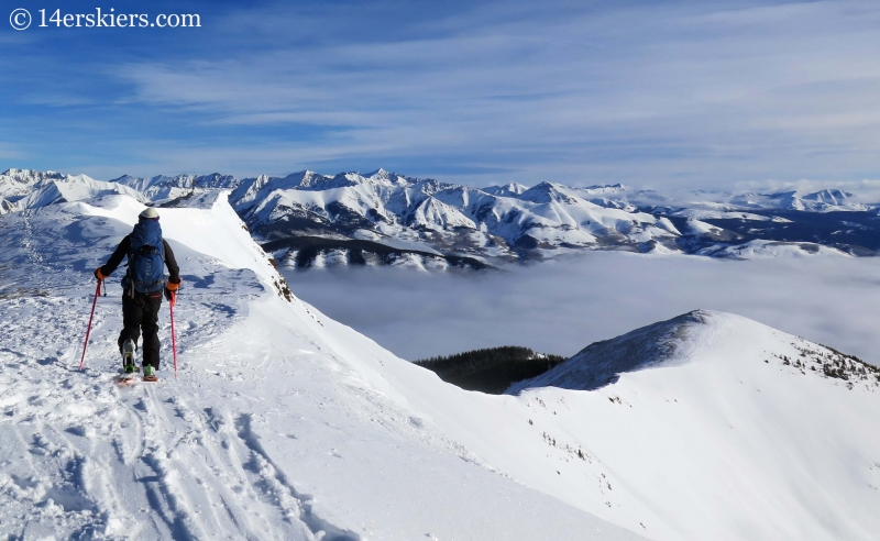Alex Riedman backcountry skiing on Red Lady in Crested Butte.