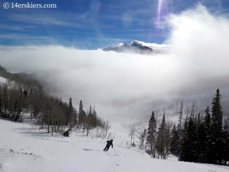 Skiing into fog while backcountry skiing in Crested Butte.