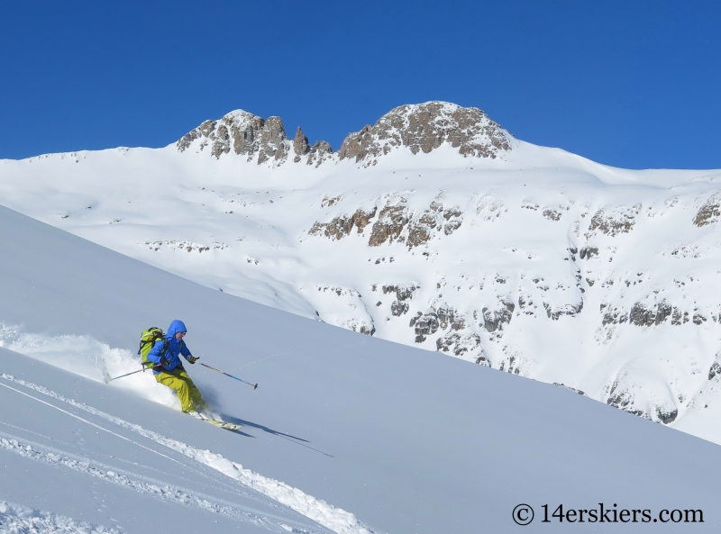 Natalia Moran backcountry skiing on Red Mountain Pass.
