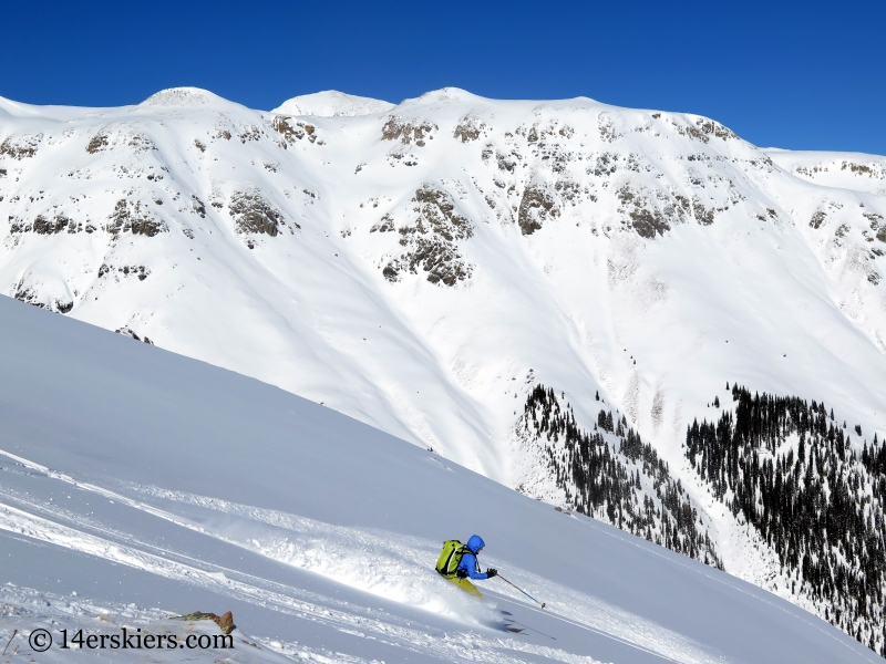 Natalie Moran backcountry skiing on Red Mountain Pass.