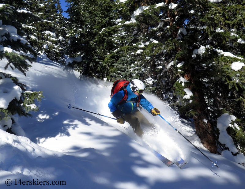 Frank Konsella backcountry skiing on Red Mountain Pass.