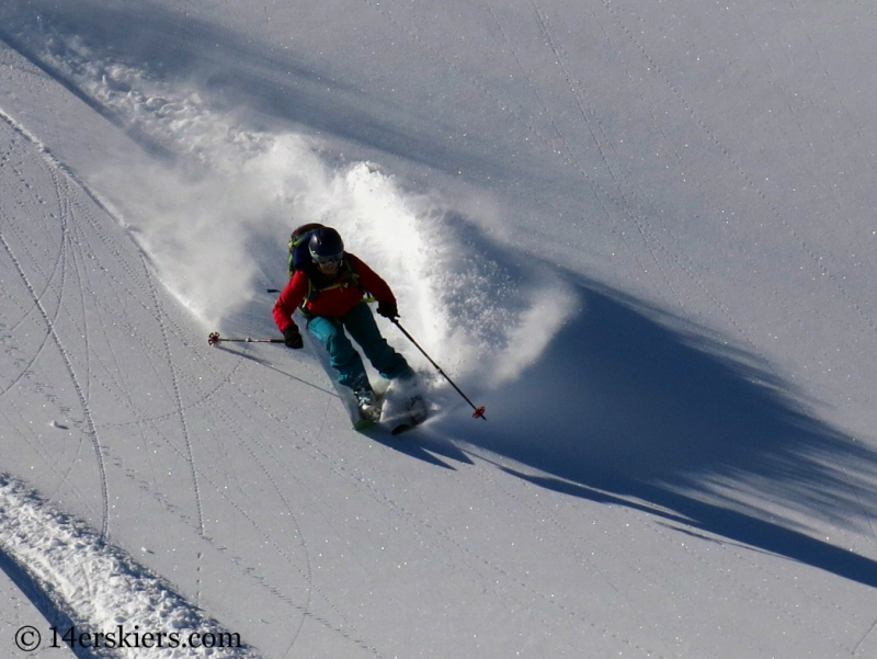 Brittany Konsella backcountry skiing Red Mtn Pass.
