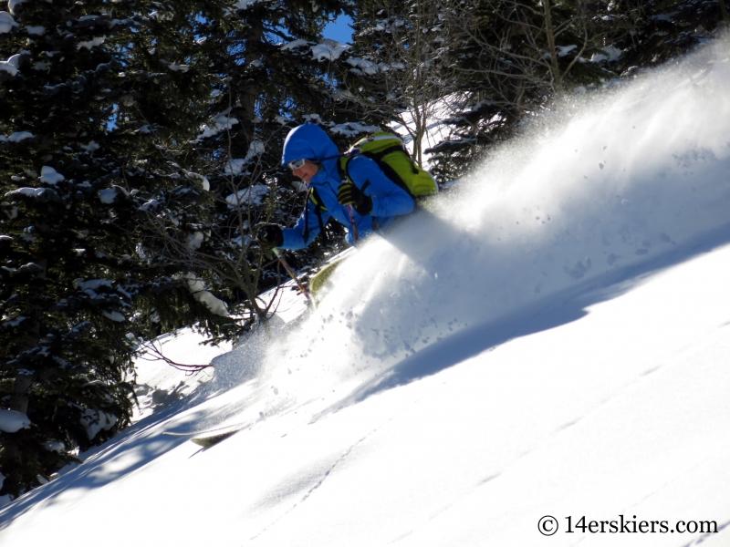 Natalia Moran backcountry skiing on Red Mountain Pass.