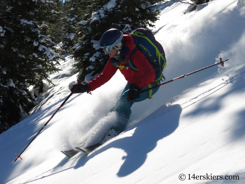 Brittany Konsella backcountry skiing on Red Mtn Pass.