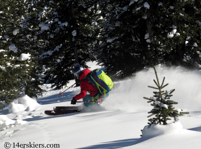 Brittany Konsella backcountry skiing on Red Mountain Pass.
