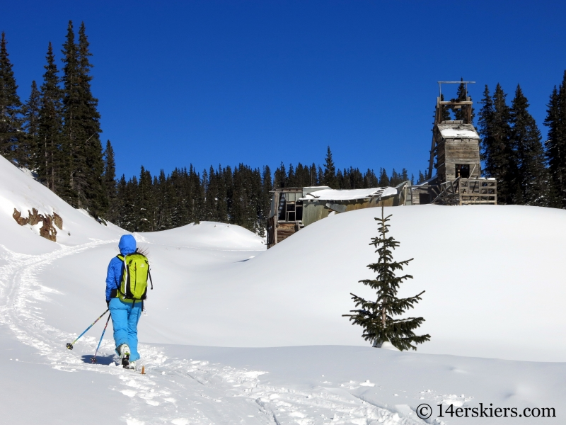 Natalia Moran backcountry skiing on Red Mtn Pass.