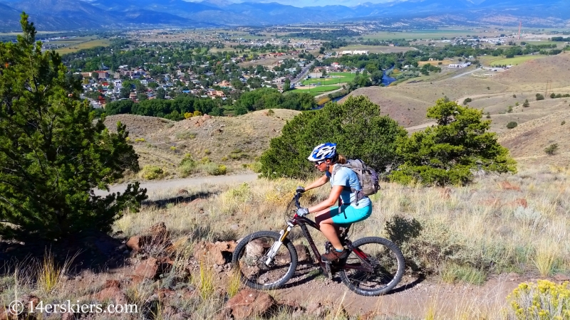 Natalie Moran mountain biking in Salida, CO.