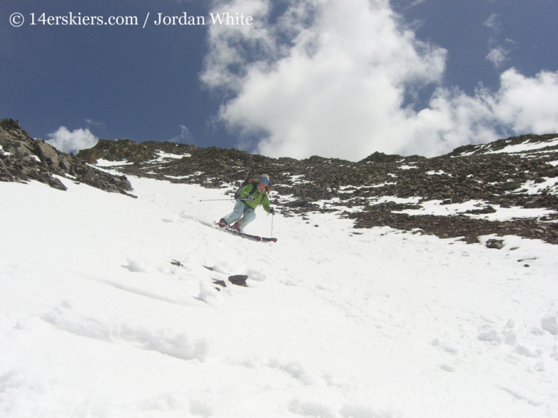 Brittany Walker Konsella backcountry skiing on San Luis Peak.