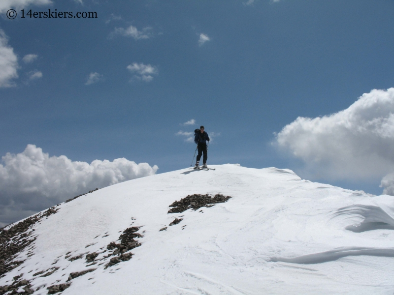 Jordan White skiing off the summit of San Luis Peak.