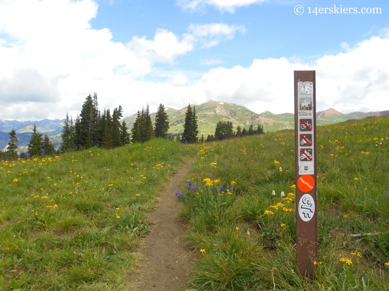 Schofield Trail sign near Schofield Pass, near Crested Butte.