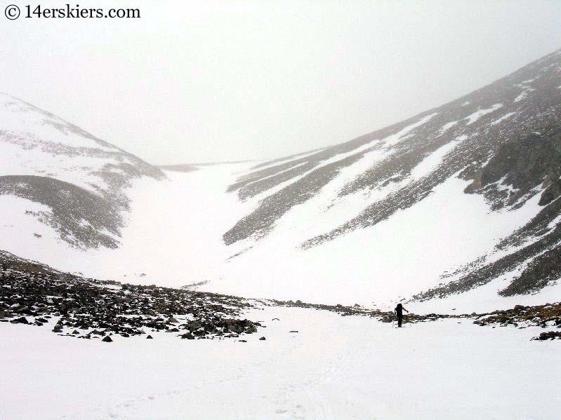 Frank Konsella skinning toward the Angel of Shavano snowfield.