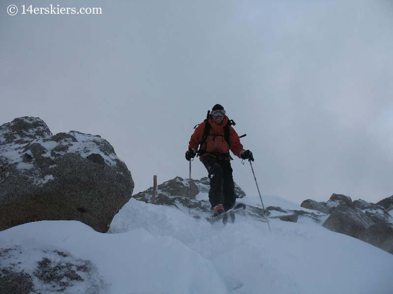 Frank Konsella skiing off the summit of Mount Shavano.