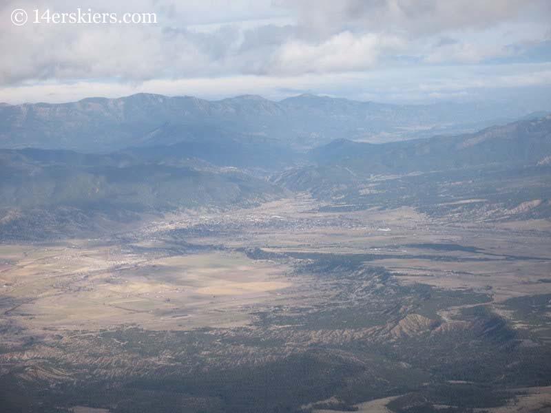 Salida seen from the summit of Mount Shavano.