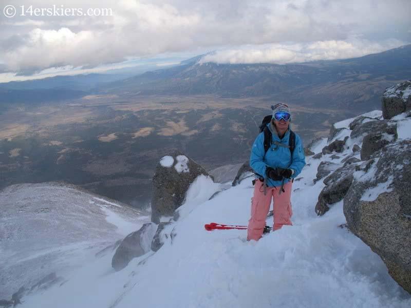 Brittany Walker Konsella on the summit of Mount Shavano, ready to ski.