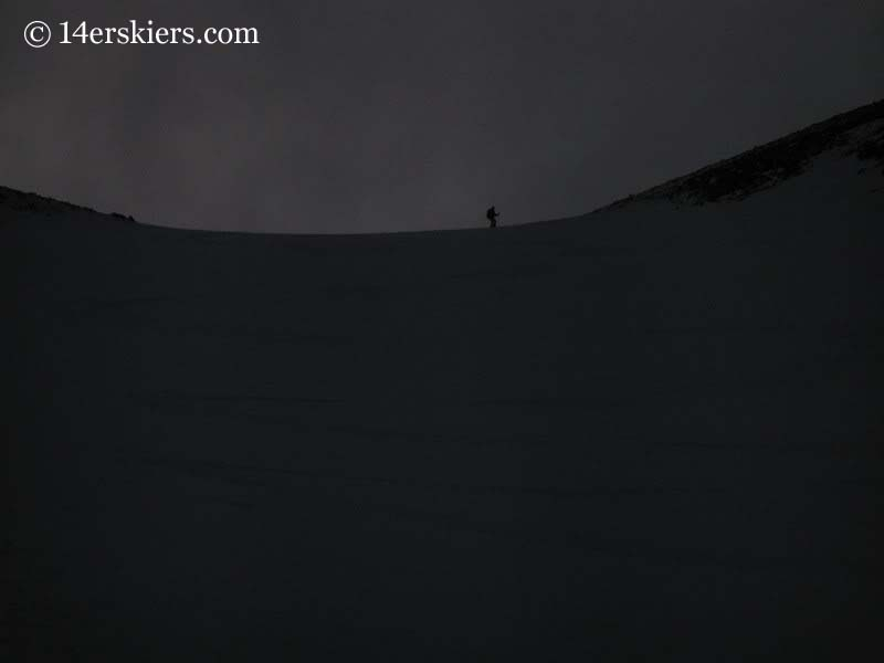 Brittany Walker Konsella backcountry skiing on Mount Shavano.