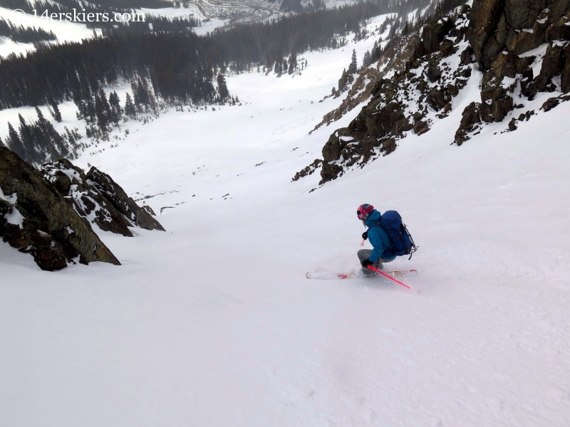 Alex Riedman backcountry skiing on Shit for Brains Couloir